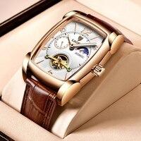 LIGE orologi da uomo di lusso delle migliori marche orologio automatico quadrato per uomo orologio Tourbillon orologio meccanico impermeabile in vera pelle