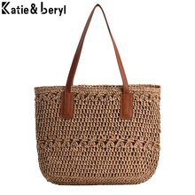 New Summer Larger Capacity Beach Shoulder Bag For Women Shopping Travel Straw Bag Ladies Handbags Top Handel Bucket Bag Female