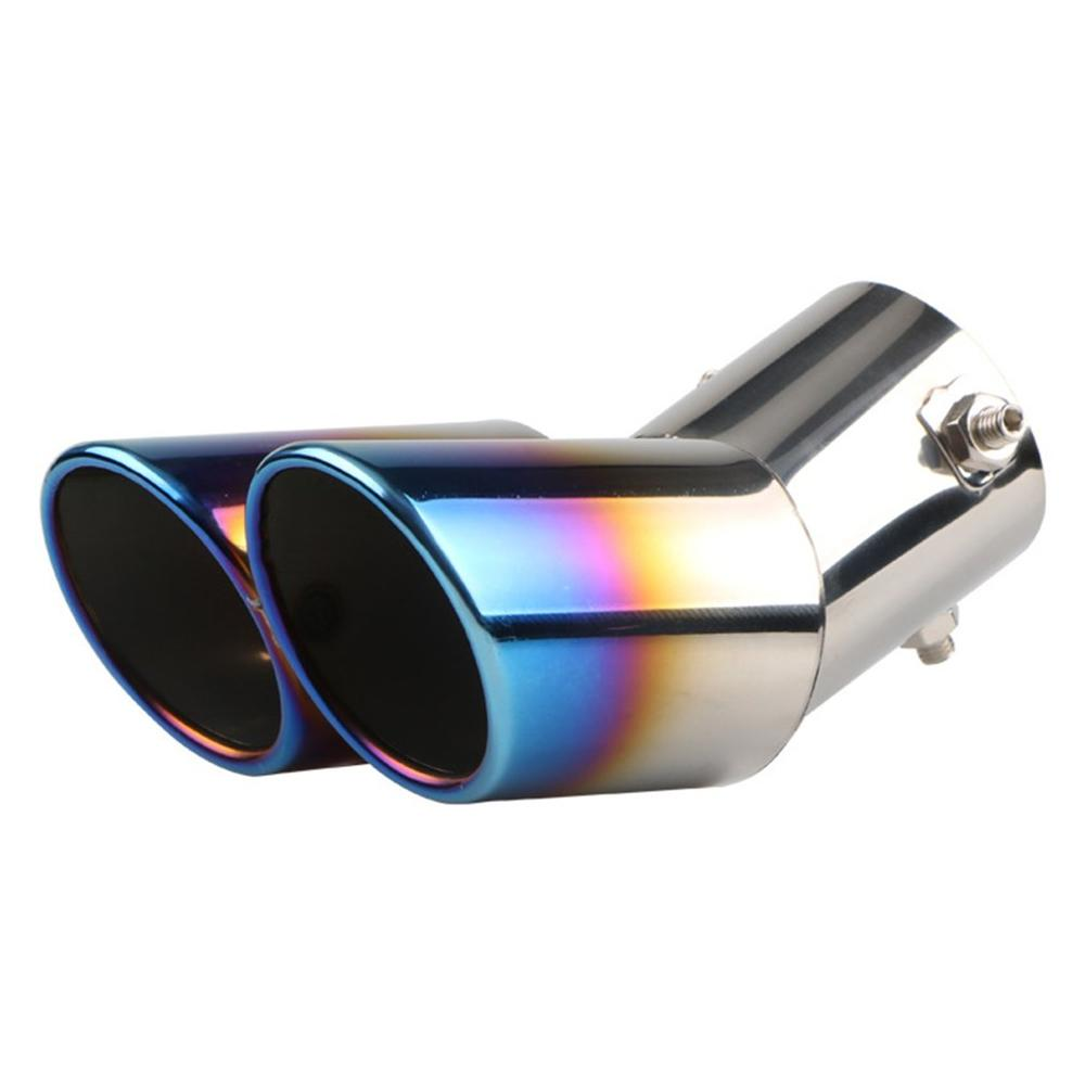 Universal Exhaust Muffler Pipe End Stainless Steel Car Round Mouth Double Pipe Tail Pipe Car Tail Throat Exhaust Pipe|Mufflers|   - title=