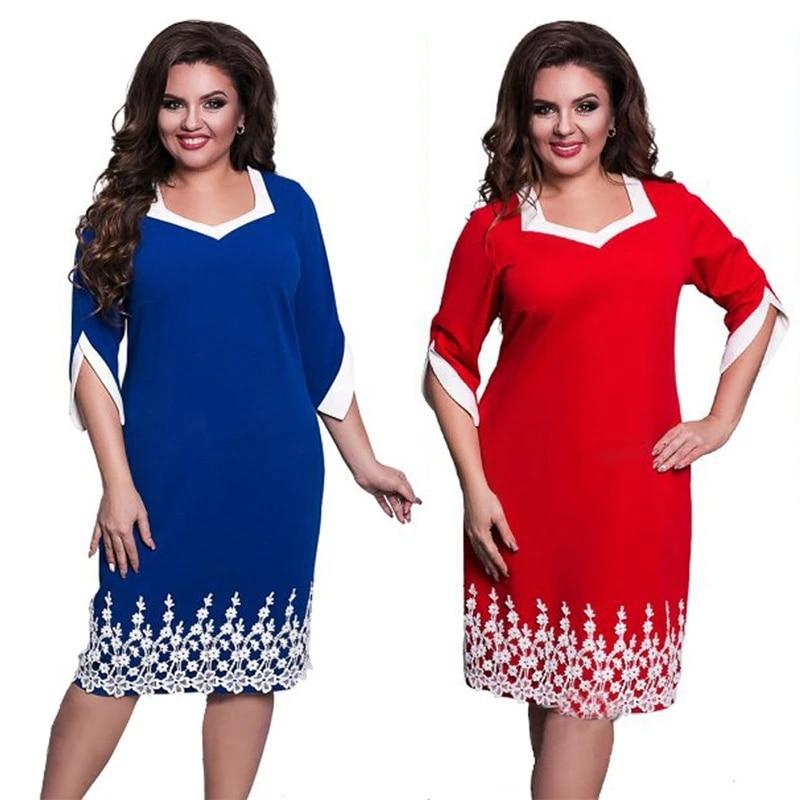 Talla Grande L 6xl Vestido Elegante Azul De Mujer Tallas Grandes Vestidos Sueltos De Encaje Vestido Hasta La Rodilla Negro Rojo Casual Vestido Vestidos Aliexpress