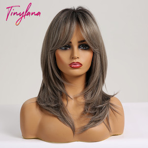 Image 4 - TINY LANA Shoulder Medium length hair ombre Brown blonde Mixed color Synthetic wig Straight With Bangs Heat Resistant for Women