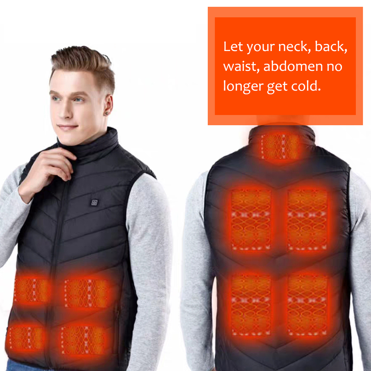 Electric Heated Vests Winter Clothes Men Electric USB Thermal Tactical Heated Jacket For Outdoor Sport Camping Hiking  Hunting