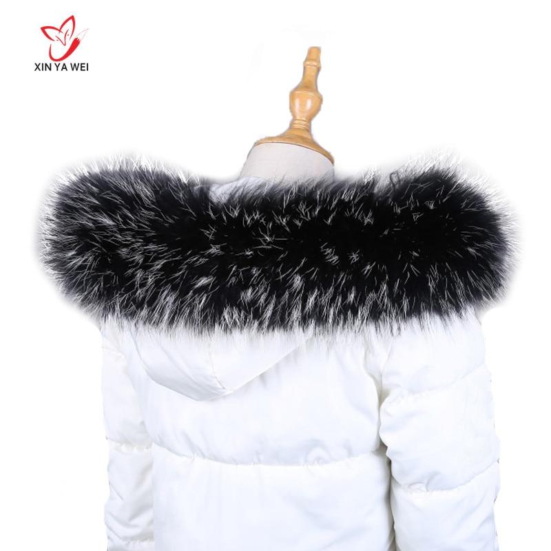 100% Real Fur Collar For Parkas Coats Natural Raccoon Scarf Luxury Women Fur Scarves Men's Jackets 60cm 65cm 70cm 75cm 80cm