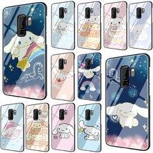 EWAU Cute cartoon cinnamoroll Tempered Glass Phone Cover Case For