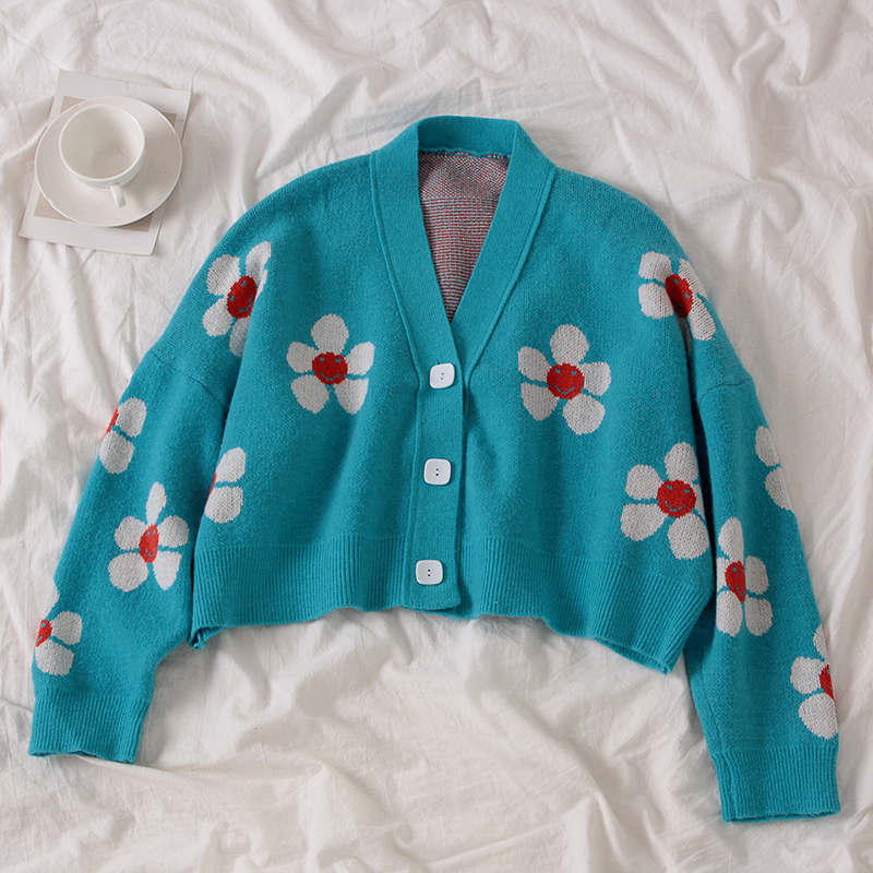 H4369247e9a9e4c9c9bd3ba22d770ffebS - Neploe Preppy Style Flower Knit Cardigans Sweater Women V Neck Loose elegaht Thicked Pull Femme Print Short Casual Coat 46565