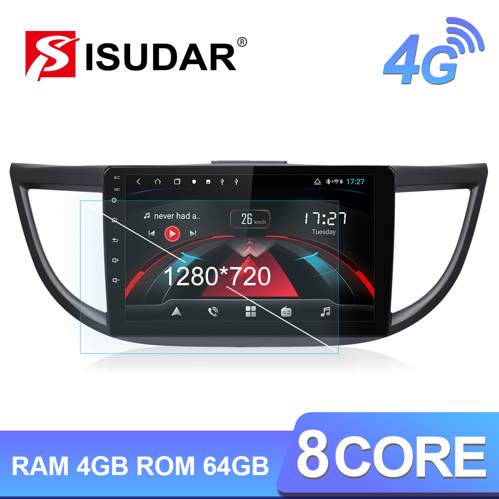 Isudar H53 4G Android 1 Din Auto Radio For <font><b>Honda</b></font>/<font><b>CRV</b></font>/CR-V 2011-2015 Car <font><b>Multimedia</b></font> 8 Core RAM 4GB ROM 64GB GPS DVR Camera IPS FM image