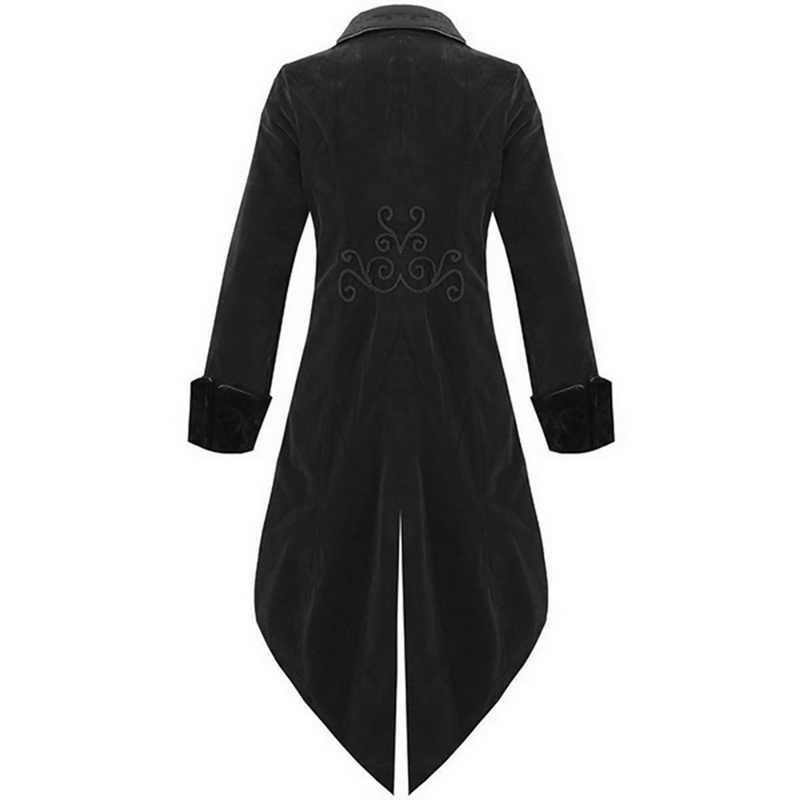Dihope 大人男性ビクトリア朝の衣装黒タキシードファッション燕尾服ゴシックスチームパンクトレンチコートフロック衣装オーバーコート