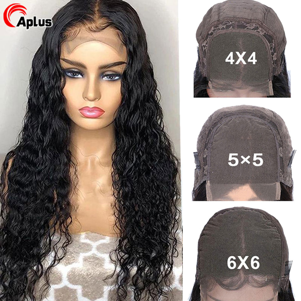 5x5 6x6 Closure Wig Water Wave Human Hair Wigs 180 Density 28 30 inch Lace Closure Wig For Black Women Glueless 4x4 Lace Wigs image