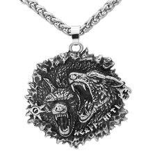 Odin kurt Geri ve Freki muska rune viking kolye paslanmaz çelik ile valknut hediye çantası