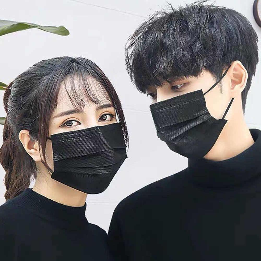 маска для лица 10 шт. маска на рот маски маска для рта одноразовая черная хлопковая маска для рта и лица медицинская маска Анти-пыль маска 3 фильтра Ушная петля активированный Carb гипоаллергенный