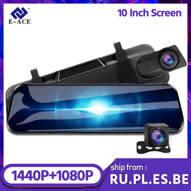 E-ACE A37 Car Dvr 10.0 Inch Rear View Mirror 2K Dash Cam 1080P Car Camera With Rear View Camera Video Recorder Registrar Dvrs 1