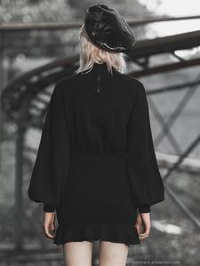 Image 4 - PUNK RAVE Girls Punk Style Aliens Take Me Home Printed Long Sleeved Flounced Wrap Dress Women Casual Black Dress