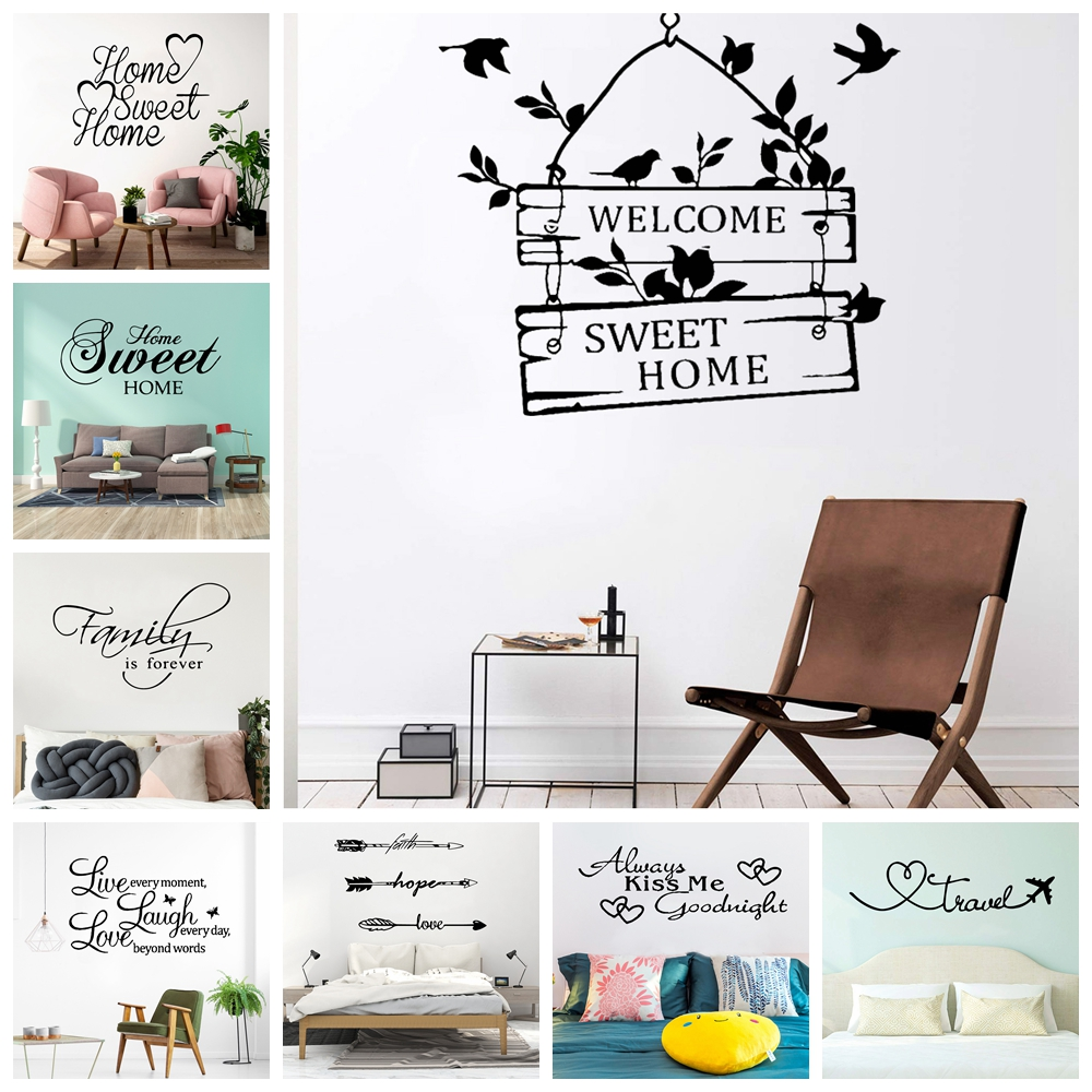 Creative Sweet Home Frase Removable Wall Sticker For Living Room Viny Decals Home Decor Bedroom Phrase Pvc Stickers Mural