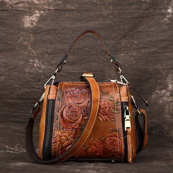 New Style Fashion Genuine Leather Handmade Embossed Portable Shoulder Bag