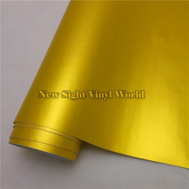 Высокое качество Матовая Золотая атласная металлическая виниловая Золотая матовая атласная металлическая пленка для автомобиля