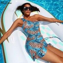 Hugcitar-mini robe imprimée léopard pour femme, asymétrique et sexy, tenue avec bandage, collection automne-hiver, 2020