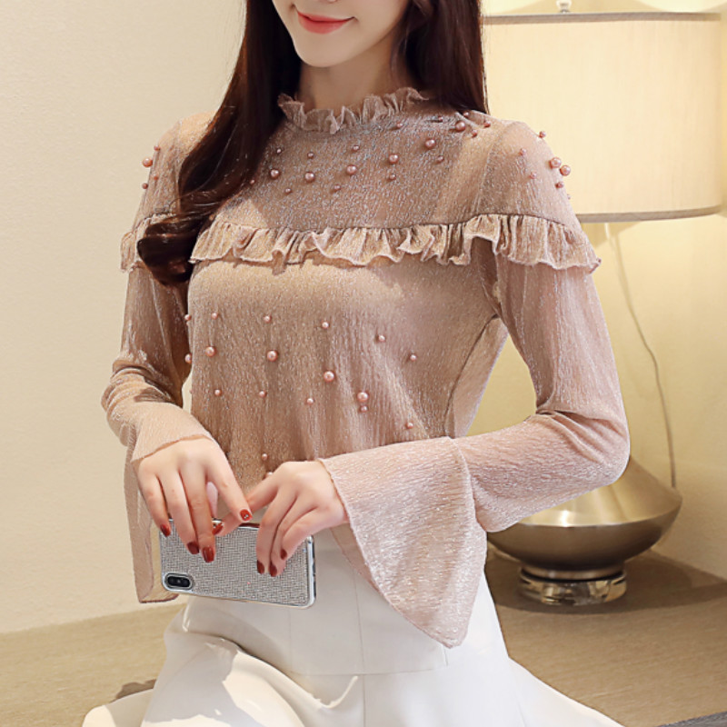 2021 spring elegant flare sleeve women's shirt blouse for women blusas womens tops and blouses chiffon shirts ladie's top 1