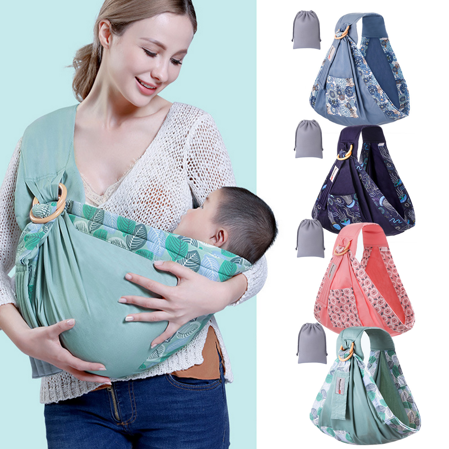 Portable Adjustable Breathable Soft Cotton Baby Sling Wrap Carrier With Storage Bag For Newborn Toddlers Infants All Seasons