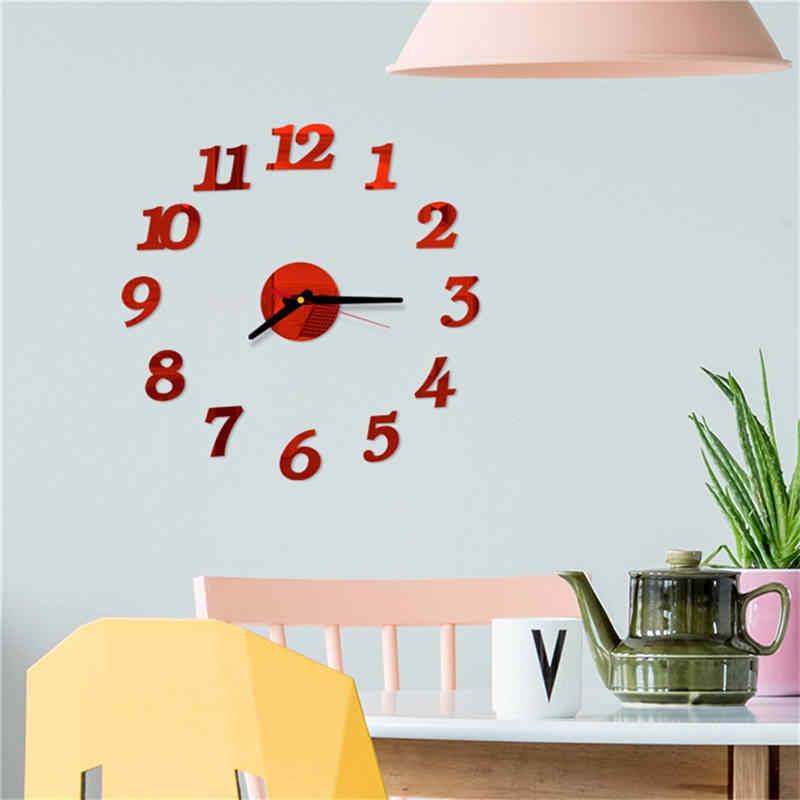 Reloj de pared zegar ścienny wykwintne 3D proste z cyframi rzymskimi DIY lustro akrylowe naklejka ścienna zegar mural dekoracja wnętrz naklejki 661GZ10