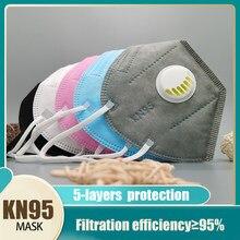 Kn95 máscara de respiração válvula mascarillas poeira protetora reutilizável respirador mês kn95 filtro ffp2 máscaras máscara cinza ffp2masks