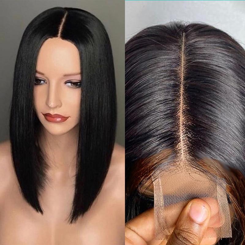 Lace Wigs Highlight Straight Bob Piano Color Lace Closure Wigs Natural Black   Wigs Pre Plucked 4