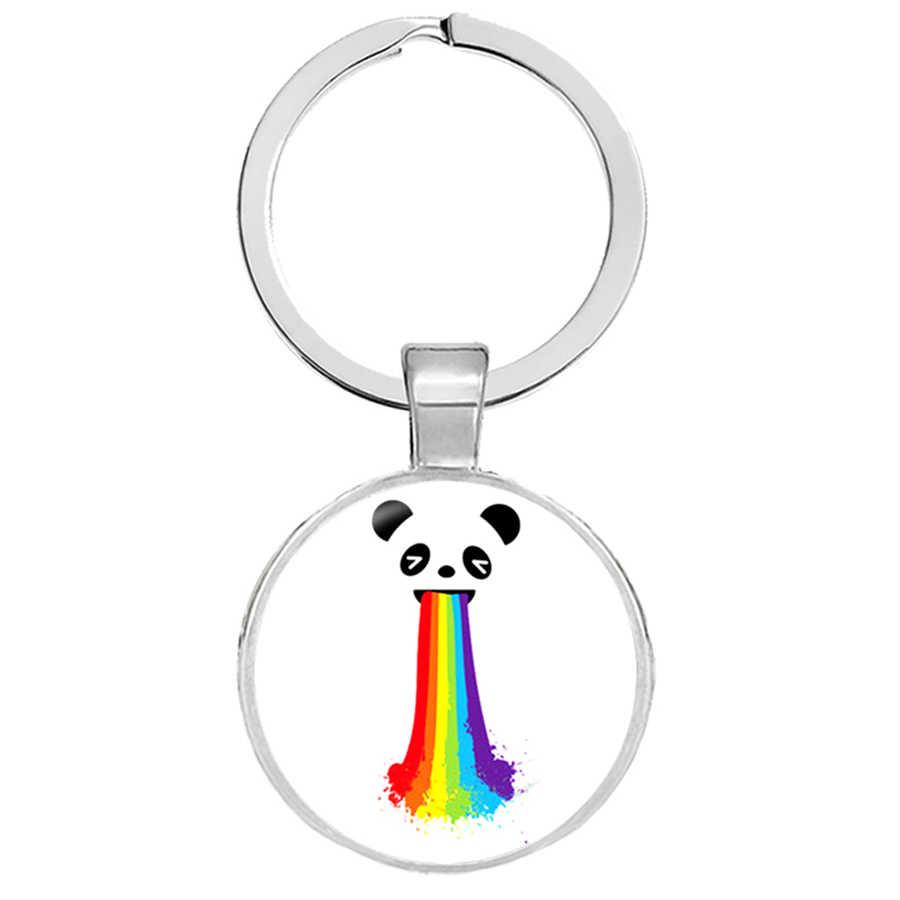 LGBT Bi Pride Keyrings เกย์ Pride Key แหวน Hypoallwergenic เกย์ Pride แก้ว Cabochon Key Hoder เครื่องประดับ Llaveros คริสต์มาสของขวัญ