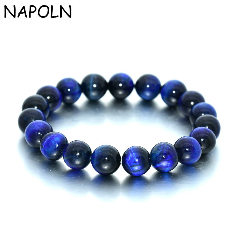 NAPOLN Blue Tiger Eye Bracelet 8MM Gem Stone Beaded Bracelet Natural Stone Bracelets For Women Men Attend Party Dropshipping