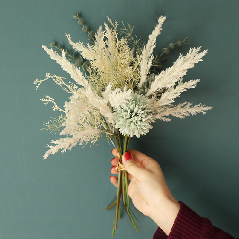 Новинка, белые Искусственные цветы, гибридный букет эвкалипта высокого качества, свадебное украшение для дома, искусственные цветы, Шелков...