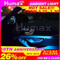 For Mercedes C class w205 C63 C200 C250 car DIY ambient lamp 3/12/64 colors LED ambient light illuminated car accessory