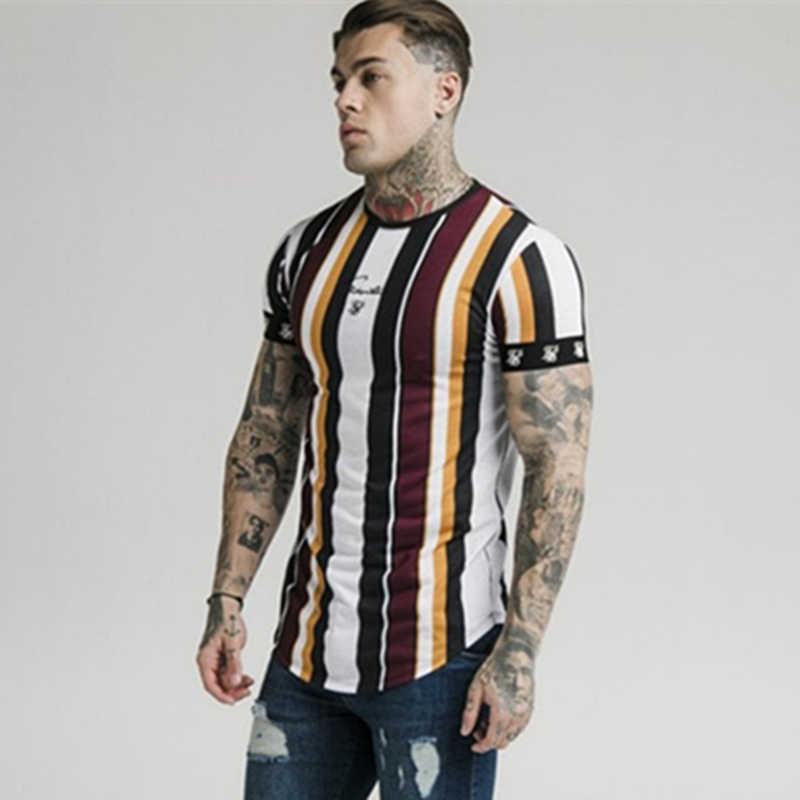 Nieuwe Heren streep Hip hop stijl T-shirt Zomer Casual Mode korte mouwen tee tops Mannelijke Katoen ademend merk Kleding