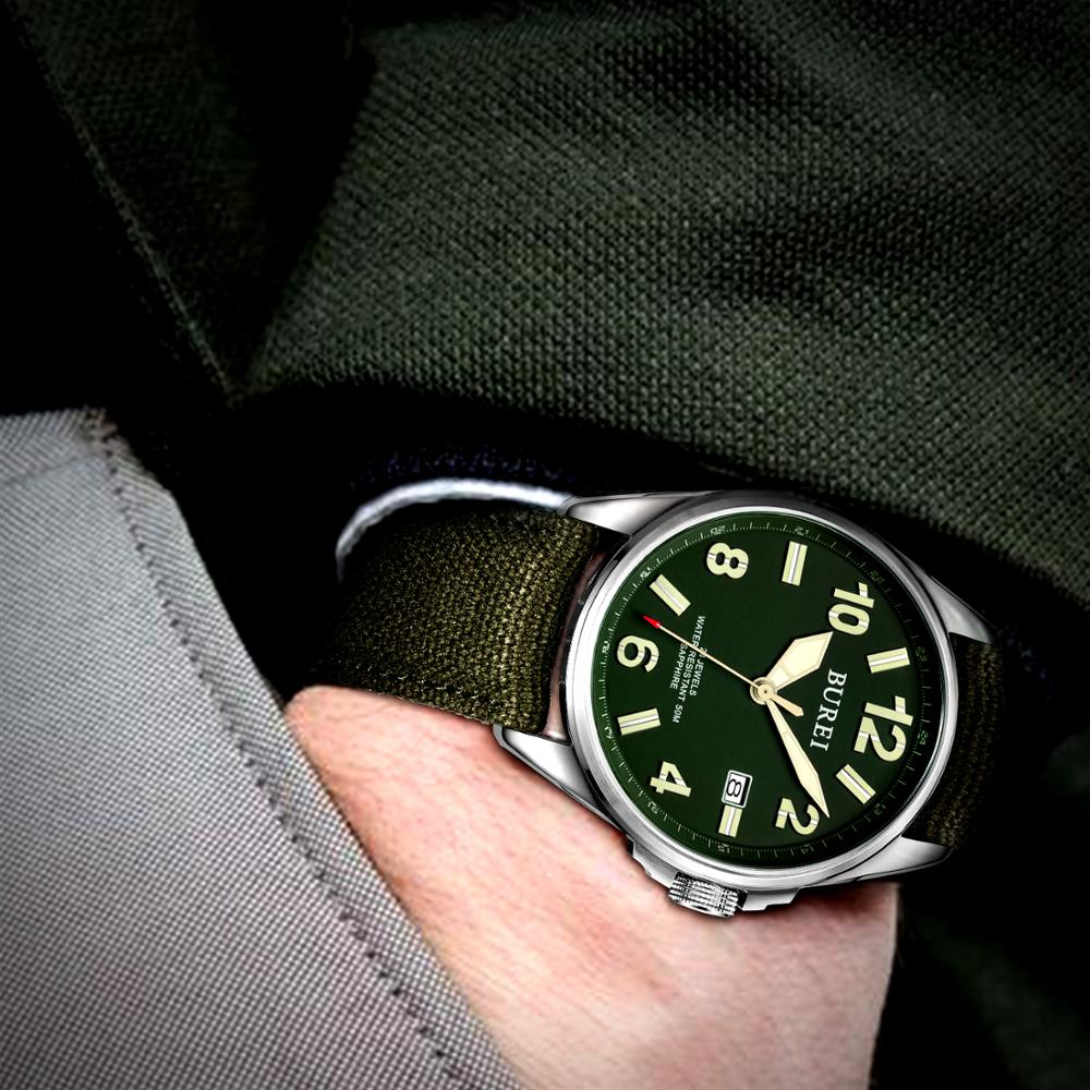 NH35 BUREI Luxury Brand Men Automatic Watch Sapphire Military Mechanical Men Watch Casual Canvas Strap Relogio Masculino 2020