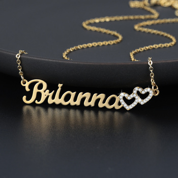 Personalized Iced Out Double Hollow Necklace Name Custom Stainless Steel Charm Nameplate Necklace Jewelry Choker Gifts For Women gorgeous tassel hollow out choker