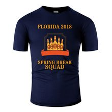 Vintage Lente Breken Squad Party Crew Miami Florida 2018 T-Shirt Man O Neck Tee Shirt Korte Mouwen Katoen Hip hop(China)