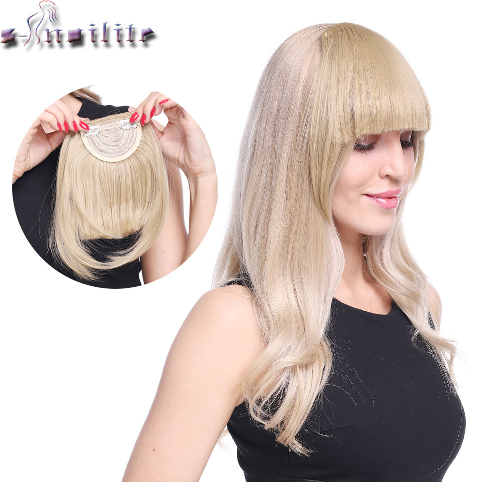 SNOILITE Short Front Blunt Bangs Clip In Bang Fringe Hair Extensions Straight Synthetic 100% Real Natural Fake Hairpiece