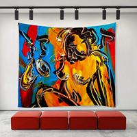 Black Cat African Women Oil Painting Tapestries Hippie Art Wall Hanging Throw Tablecloth