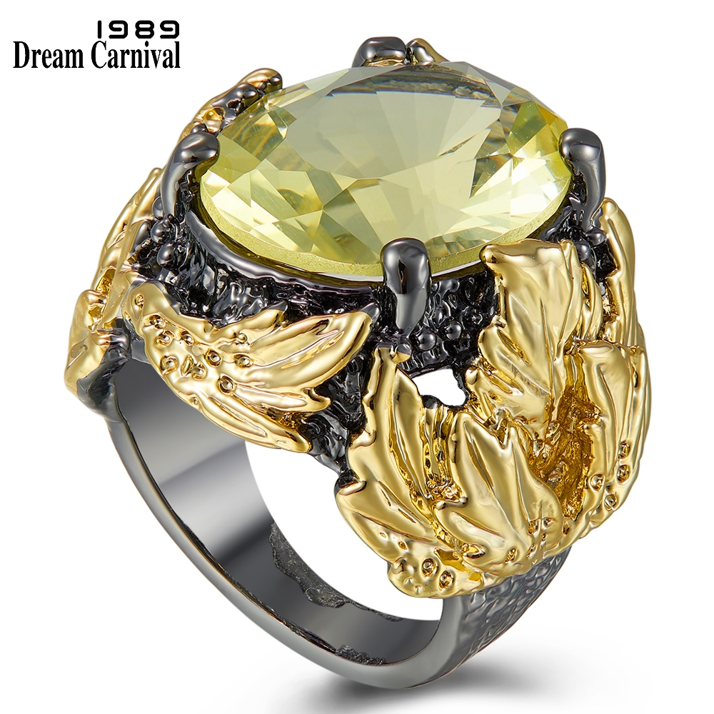 Dreamcarnival 1989 Big Powerful Chunky Rings Women Wedding Engagement Radiant Cut Zircon Black Gold Color Hot Pick Gifts WA11750