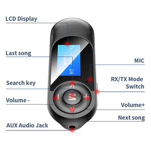Image 5 - DISOUR USB Bluetooth 5.0 Adapter 5 IN 1 Wireless Audio Receiver Transmitter LCD Display 3.5mm AUX RCA Dongle With Mic For TV Car