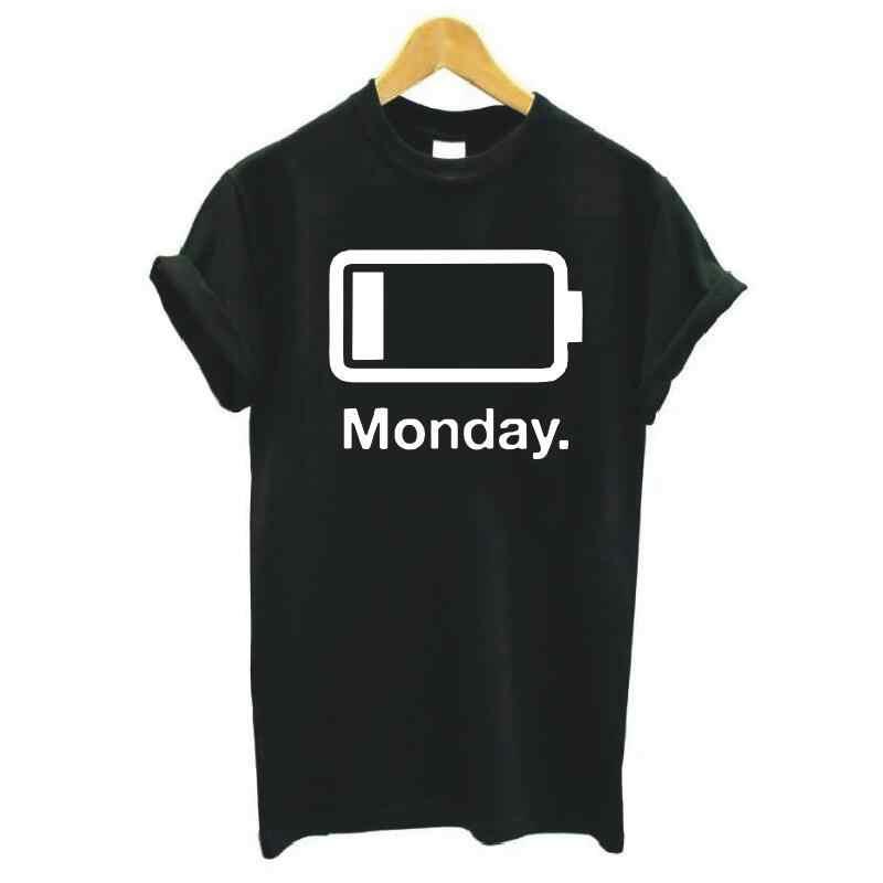 วันจันทร์ต่ำแบตเตอรี่พิมพ์ตัวอักษรผู้หญิงเสื้อยืดสีดำสีขาวเสื้อ Tee เสื้อ Femme Hipster สั้นเสื้อ TShirt ผู้หญิงเสื้อ