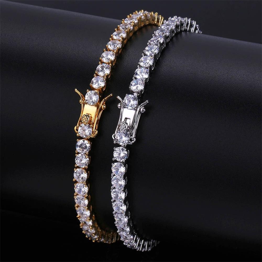 Brass Tennis Bracelet AAA CZ 3mm 4mm 5mm 1 Row Cubic Zirconia Gold Silver Color Bracelet for Men Women Iced Out Hip Hop Jewelry|Chain & Link Bracelets|   - AliExpress