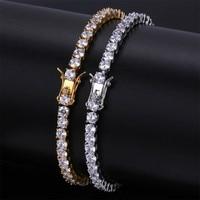 Messing Tennis Armband AAA CZ 3mm 4mm 5mm 1 Reihe Zirkonia Gold Silber Farbe Armband für männer Frauen Iced Out Hip Hop Schmuck