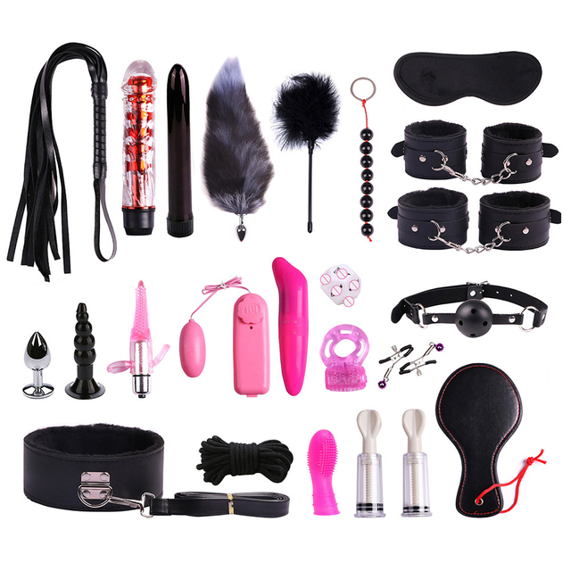 Sex Toys For Woman Adult Games Handcuffs/Anal Plug/Blindfold/Mouth Gag/Whip/SM Ball/Nipples Clip Butt Plug BDSM Bondage Set