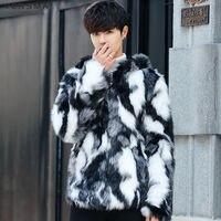 VERSMA Korean Men Harajuku GD Winter Faux Mink Fur Jacket Coat Men Warm Hooded Russian Winter Coats Windbreaker Men Dropshpping