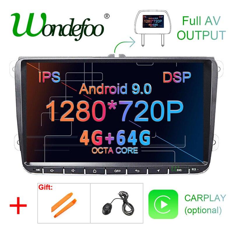 DSP Android 9,0 4G 64G GPS para coche para Seat Altea Toledo VW Passat B6 CC GOLF 5 6 Polo Tiguan Touran radio navegación sin reproductor de DVD