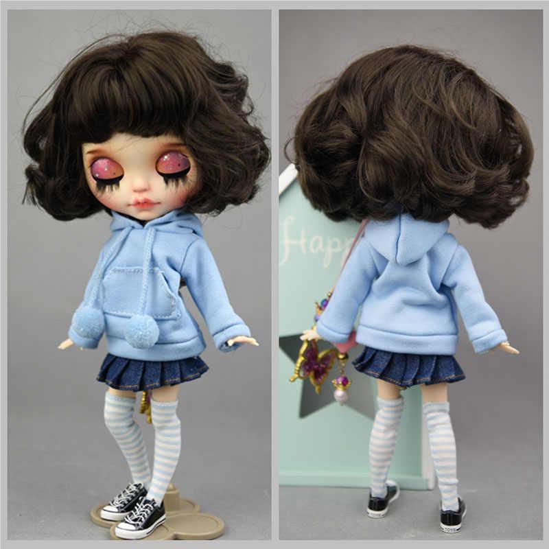 人形服フード付きスポーツパーカーのためのブライス人形カジュアルセータートップ服フィットブライス 1/6 人形クリスマスガールのおもちゃアクセサリー
