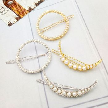 Moon Set Pearl Hairpin Sun Circle Hairpin Women's Side Clip Jewelry Hair Accessories Headress Tools image