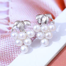 DMCEFP079 3-4mm Freshwater Pearl Earrings Grape Shape Real 925 Sterling Silver Earrings For Women(China)