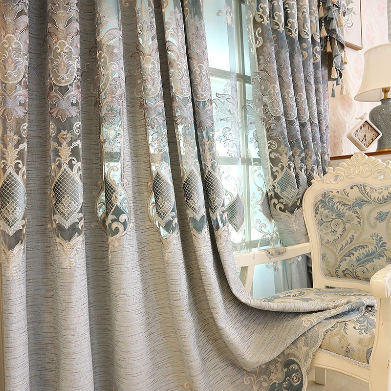 European Luxury Gray Jacquard Blackout Decorative Curtains For Bedroom Window Curtains Living Room Luxury Drapes Custom Valance4|Curtains| |  - title=