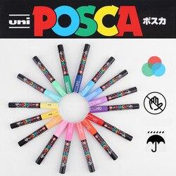 Uni Posca PC-1M/3 м/5 м маркер для рисования, рекламная ручка, не выцветает 21/24, все цвета 0,7 мм/0,9 мм ~ 1,3 мм/1,8 мм ~ 2,5 мм