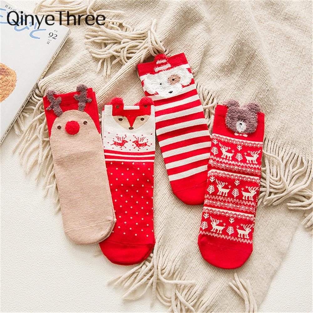 4 pairs/lot women happy cute cartoon socks casual soft warm winter Christmas secret gift socks Elk santa claus stars snowman