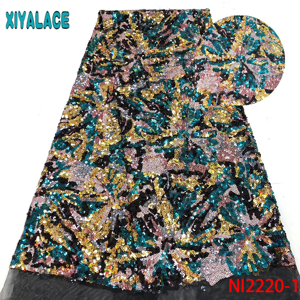 African Fabric Lace High Quality,Net Lace Fabric 2019,French Tulle Lace With Colorful Sequins For Party Dresses KSNI2220-1